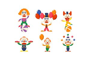 Flat vector set of funny clowns in
