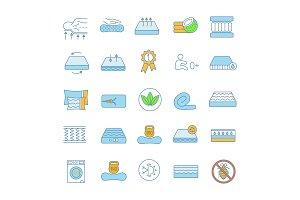 Mattress color icons set