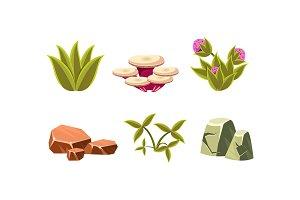 Set of natural landscape elements