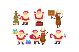 Flat vectoe set of Santa Claus in