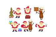 Flat vectoe set of Santa Claus in