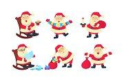 Flat vector set of Santa Claus in