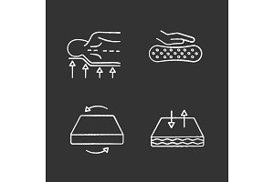 Orthopedic mattress chalk icons set