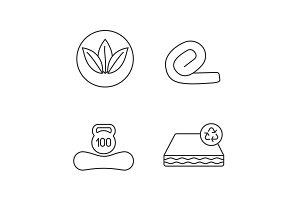 Orthopedic mattress linear icons set