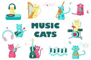 Music cats set and seamless patterns