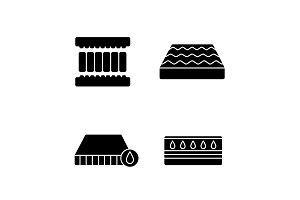 Orthopedic mattress glyph icons set