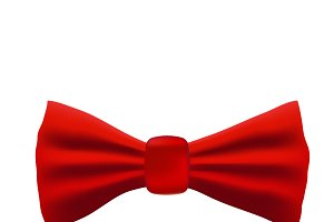 Realistic red bow tie