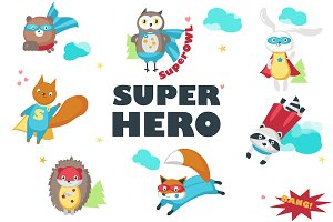 Superhero animals isolated & pattern