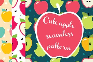 Delicious apple seamless pattern.