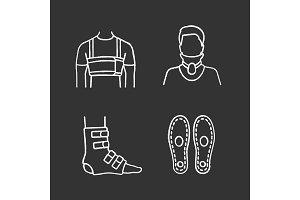 Trauma treatment chalk icons set