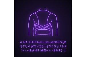 Posture corrector neon light icon