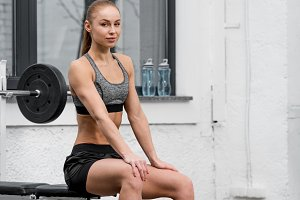 attractive athletic sportswoman rest