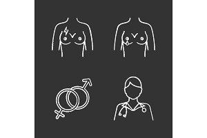 Gynecology chalk icons set