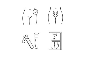 Gynecology linear icons set
