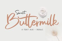 Sweet Buttermilk - Font Duo + Bonus by  in Script Fonts