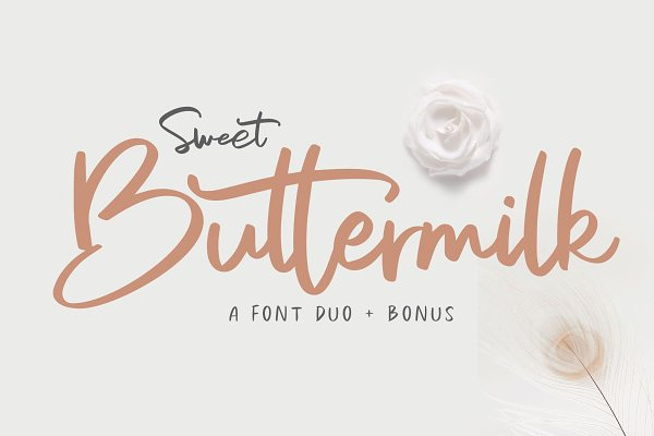 Script Fonts: Craft Supply Co. - Sweet Buttermilk - Font Duo + Bonus