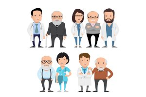 Doctors with elderly patients