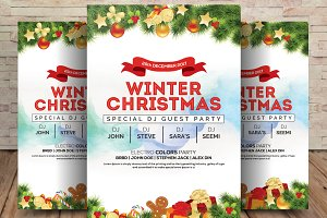 Winter And Christmas Party Flyer