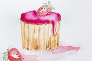 Watercolors hand drawn strawberry ca