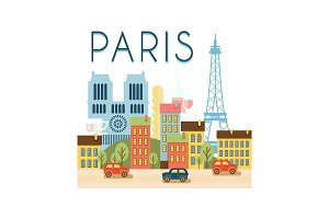 City street, Paris travel poster