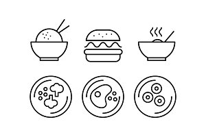 Food line icons set, fast food