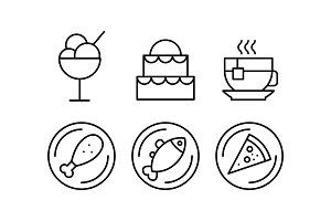 Food line icons set, delicious