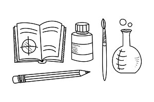 Hand drawn education icons set