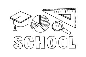 School icons set, hand drawn