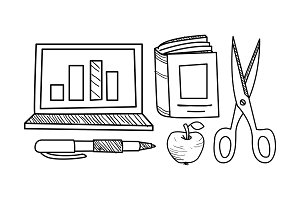 Education icons set, hand drawn