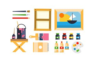 Painter icons set, art tools and