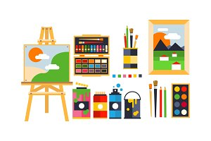 Painter icons set, painting, art