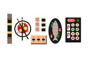 Japanese food dishes set