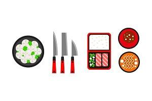 Japanese dishes icons set
