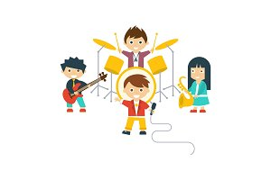 Music kids band, children playing