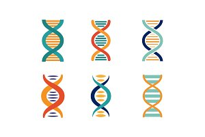 DNA strands set, spiral genetic