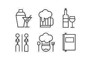 Restaurant line icons set, cafe