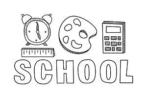 School icons set, hand drawn