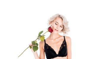 Wonderful blonde woman holding beaut