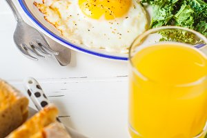Breakfast served with fried eggs