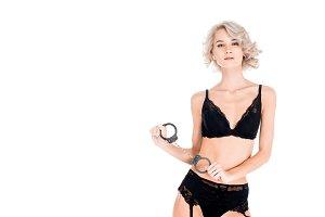 Attractuve seductive blonde woman in