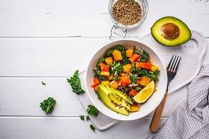 Vegan salad with rice, pumpkin
