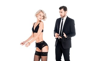 Wonderful woman standing in lingerie