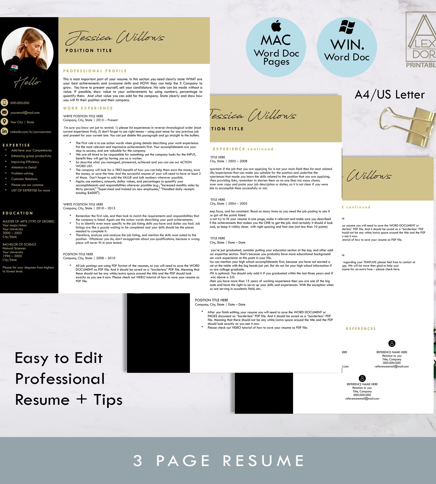 Modern Resume Template With Picture Templates Creative Market