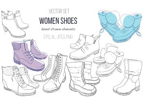 woman SHOES.Vector set
