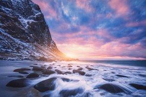 Amazing sandy beach with stones