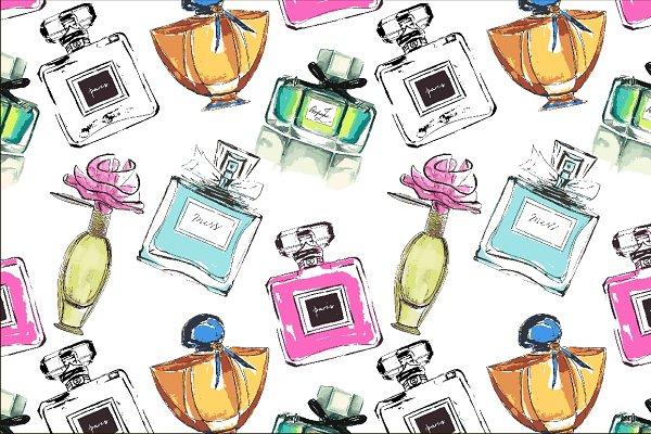Vector seamless perfumes pattern