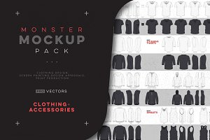 Vector Clothing Monster Mockup Pack