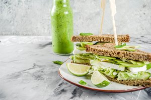 Vegan avocado sandwiches