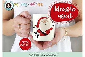 Santa Claus Jumping SVG, clipart