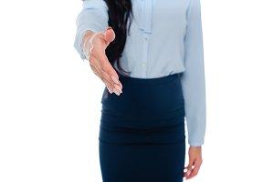 cropped image of businesswoman shaki